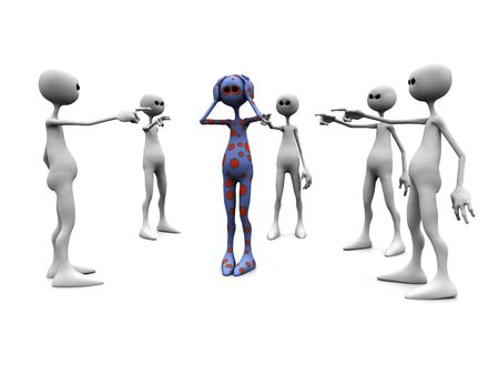 hostility: An angry group of white figures standing in a circle, pointing finger at a dotted figure in the middle.