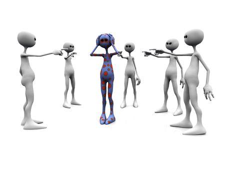 feindschaft: Eine w�tende Gruppe von wei�en Figuren stehend in einem Kreis, Zeigefinger auf eine punktierte Figur in der Mitte.