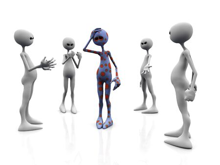 An angry group of white figures standing in a circle, surrounding an upset dotted figure in the middle. Stock Photo - 5137520