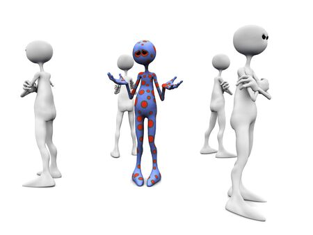 An angry group of white figures standing in a circle, turning their backs against an upset dotted figure in the middle. Stock Photo - 5137522