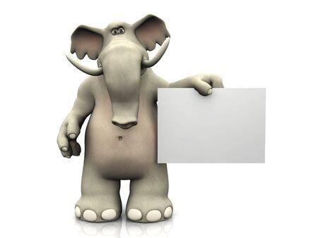 A friendly cartoon elephant holding a blank sign. photo