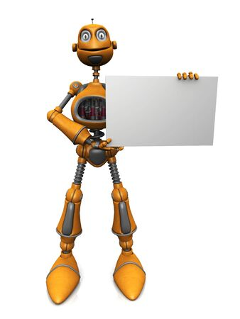 A cartoon robot holding a blank sign. Stock Photo - 5190802