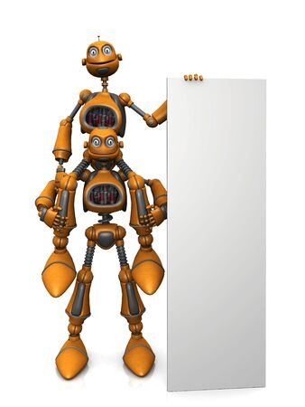 A cartoon robot sitting on another robots shoulder and holding a large vertical blank sign. photo