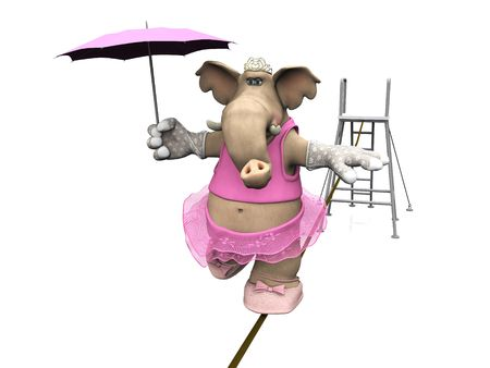 A female cartoon elephant in ballerina clothes balancing on a high-wire.
