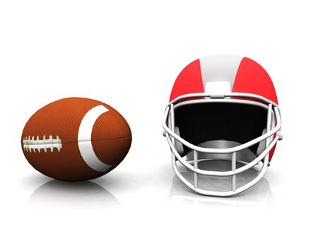 nfl helmet: An american football and helmet on white background.