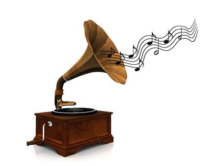 An old antique gramophone with notes coming out from it symbolizing that its playing music. photo