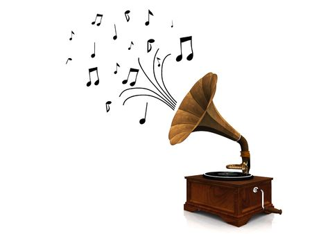 listen to music: An old antique gramophone with notes coming out from it symbolizing that its playing music.