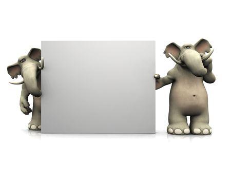 elefante cartoon: Dos elefantes historieta de pie alrededor de una se�al en blanco grande, uno de ellos pensando en algo. Foto de archivo