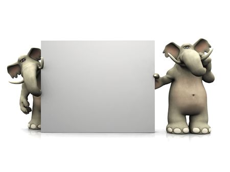 Two friendly cartoon elephants standing around a big blank sign, one of them thinking about something. Stock Photo