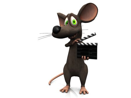 A smiling cartoon mouse holding a film clapboard.