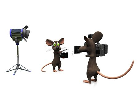 A cartoon mouse holding a film clapboard and another mouse filming. Stock Photo