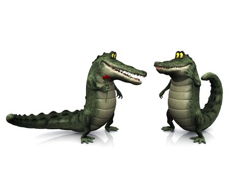A smiling, friendly male cartoon crocodile giving a female crocodile flowers. Stock Photo