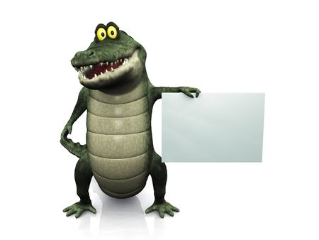 An adorable smiling friendly cartoon crocodile holding a blank sign in his hand.