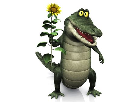 An adorable smiling friendly cartoon crocodile holding a big yellow sunflower in his hand.