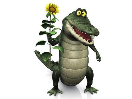 cocodrilo: Un adorable sonriente amistosa de dibujos animados cocodrilo sosteniendo un gran girasol amarillo en su mano.