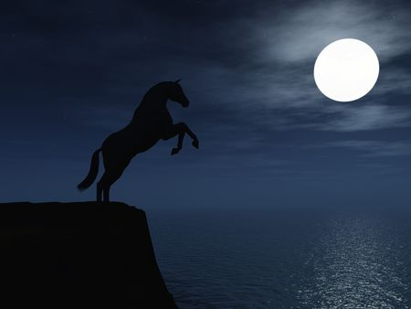cliff: The silhouette of a wild horse standing on a cliff by the ocean in moonlight. Stock Photo