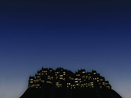 hill distant: A distant city on a hill at night with a sky full of stars.