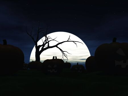 spooky eyes: Garden filled with scary halloween pumpkins at night. A big moon in the background and the silhouette of a spooky dead tree.