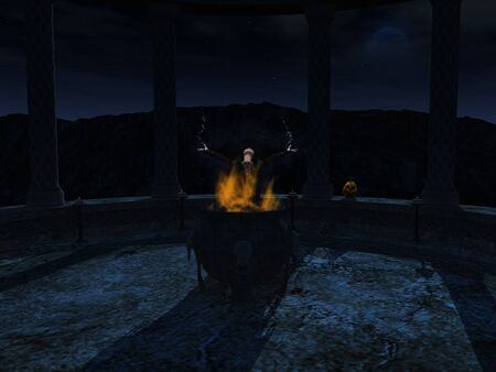 A witch standing behind a cauldron full of flames in the middle of the night. The witch is casting a spell or doing some magic.
