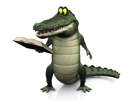storytime: A cute, friendly cartoon crocodile reading a book that he is holding in his hand.