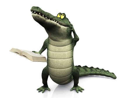 storytime: A cute, friendly cartoon crocodile scratching his head, thinking about something and holding a book in his hand. Stock Photo