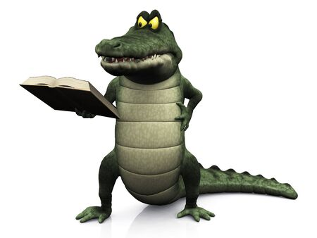 An angry or irritated cartoon crocodile reading a book that he is holding in his hand. Stock Photo - 5576772