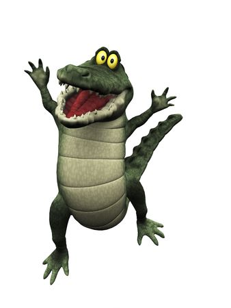 A cute, friendly cartoon crocodile jumping for joy. photo