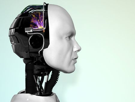 An image of a robot mans head in profile.
