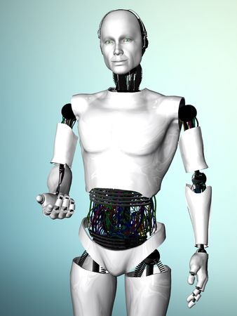 An image of a robot man showing he is welcoming you by gesturing with his hand. photo