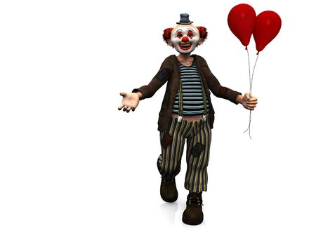 welcoming: A smiling clown holding two red balloons in his hand showing he is welcoming you by gesturing with his hand. Stock Photo