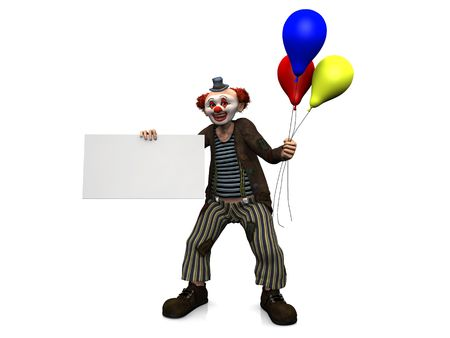 A friendly smiling clown holding a blank sign in one of his hands and three balloons  in his other hand. White background. photo