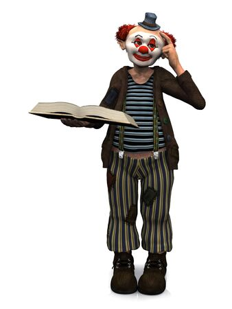 storytime: A friendly smiling clown holding a book in his hand and scratching his head, thinking about something. White background.