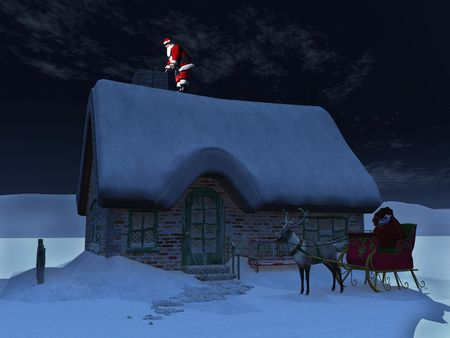 Santa Claus on a roof, ready to go down the chimney a starry night. His reindeer and sleigh waiting on the ground in front of the snow covered house. photo