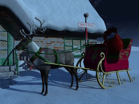 there: A reindeer with sleigh waiting outside Santa Claus house a starry night. There is a big bag of christmas presents in the sleigh.
