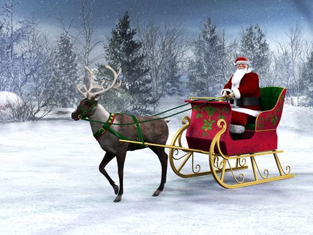A reindeer pulling a sleigh with Santa Claus in it. The background is a beautiful snowy winter forest.