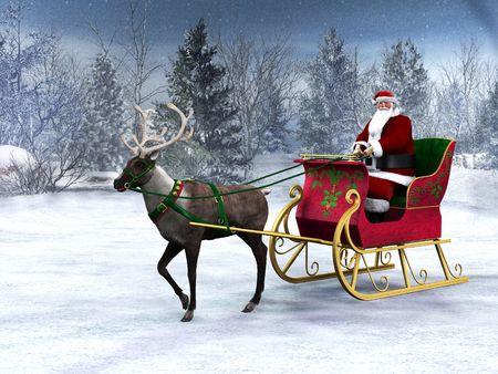 sledge: Un Reno tirando un trineo con Santa Claus en ella. El fondo es un bosque hermoso invierno cubierto de nieve.