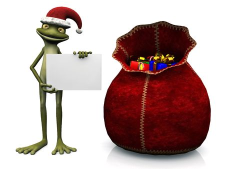 christmas frog: A cute, friendly cartoon frog wearing a Santa hat and holding a blank sign. A  big bag filled with Christmas presents beside him. White background.