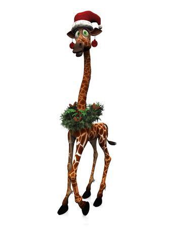 goofy: A cute, goofy cartoon giraffe wearing a Santa hat, Christmas baubles and a wreath. White background.