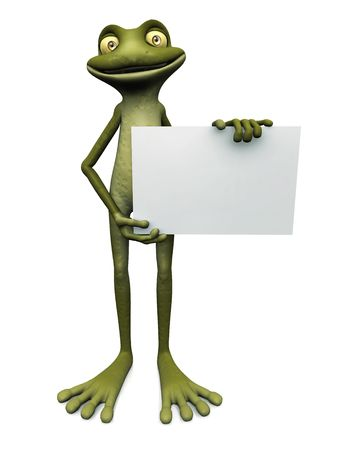A cute, friendly cartoon frog holding a blank sign, white background. Stock Photo