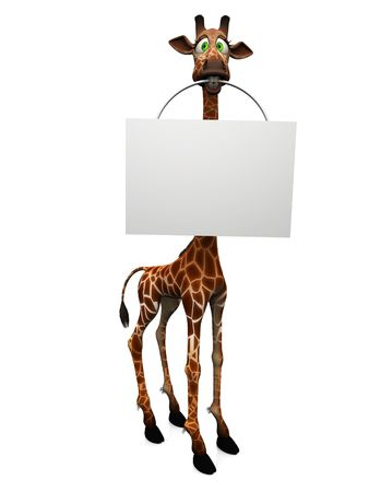 goofy: A cute, goofy cartoon giraffe holding a blank sign in its mouth, white background.