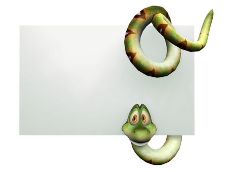 3d snake: A cute, friendly cartoon snake hanging on a blank sign on white background. Stock Photo