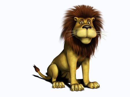 3d lion: A friendly, smiling cartoon lion sitting. White background. Stock Photo