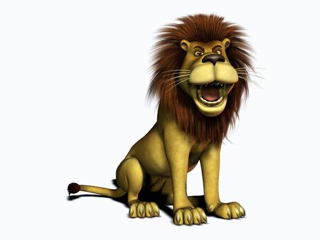 large mouth: A male cartoon lion sitting and roaring. White background.