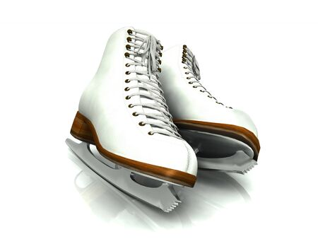 A pair of white figure skates on white background. Stock Photo