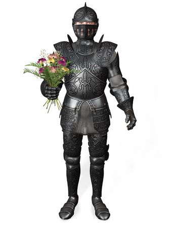 A romantic knight in full armour holding a bouquet of carnation flowers. White background. Stock Photo