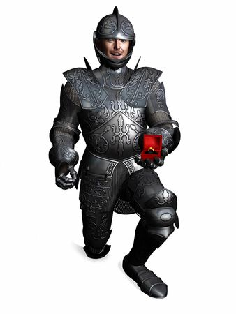 A knight in full armour is down on one knee and holding a jewelery box with an  engagement ring in it. (The man is a computer generated 3d model so no model release is needed.)