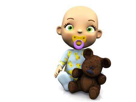 baby romper: An adorable cute cartoon baby sitting on the floor with a pacifier in its mouth and holding a teddy bear. White background. Stock Photo