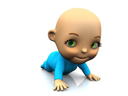 An adorable cute cartoon baby crawling on the floor and smiling. White background. Stock Photo