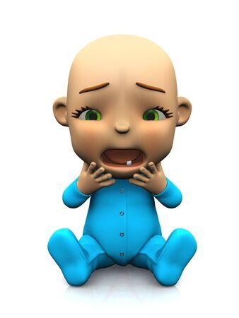 dientes caricatura: Un beb� de dibujos animados cute adorable sentada en el suelo y gritando mirando muy infeliz. Fondo blanco.  Foto de archivo