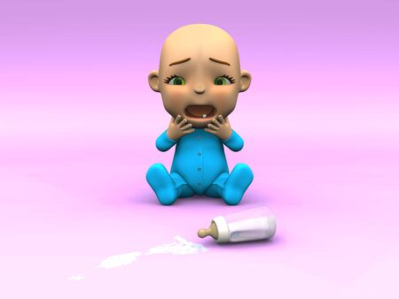 An adorable cute cartoon baby sitting on the floor and crying over spilled milk. Its baby bottle lying on the floor in front of it and there is milk spilled from it. Baby is looking very unhappy. Pink background. photo
